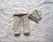 NEW-Baby Photography Props-Newborn Cream,Gray Pants With Sleeper Hat Set-Photo Prop Sets-Newborn Photo Prop Sets-Baby Set-Newborn Boys Sets