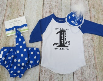 Boys First Birthday Party Pack Set With Hat Tie Diaper Cover and Graphic 3/4 sleeve Tee in Bright Blue and White Polka Dots