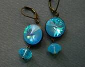 Blue Earrings, Blue Swarovski Earrings, Rivoli Earrings, Blue Opal, Swarovski Blue, Blue Crystal, Retro Earrings,  Blue Lagoon, Carribean