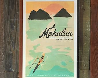 Mokulua Islands, Oahu - 12x18 Retro Hawaii Travel Print