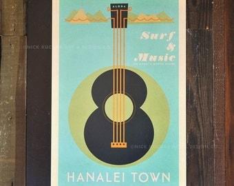 Hanalei Town - 12 x 18 Retro Hawaii Travel Print