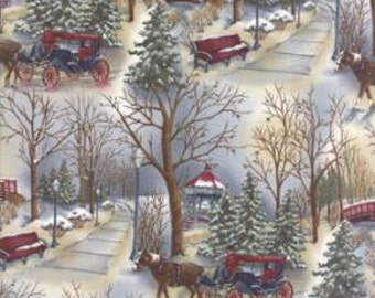 Town Square Fabric by Holly Taylor of Moda Fabrics, 6631 11 Sky, Winter/Holiday Winter Scene, Vintage Look, Sold in Half Yard Amts