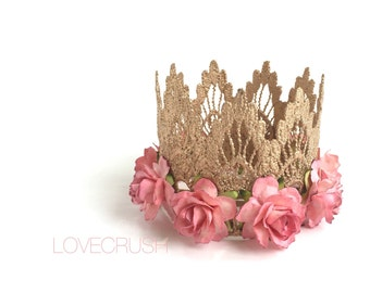 Ready to Ship    rose gold with mauve flowers     lace crown headband   