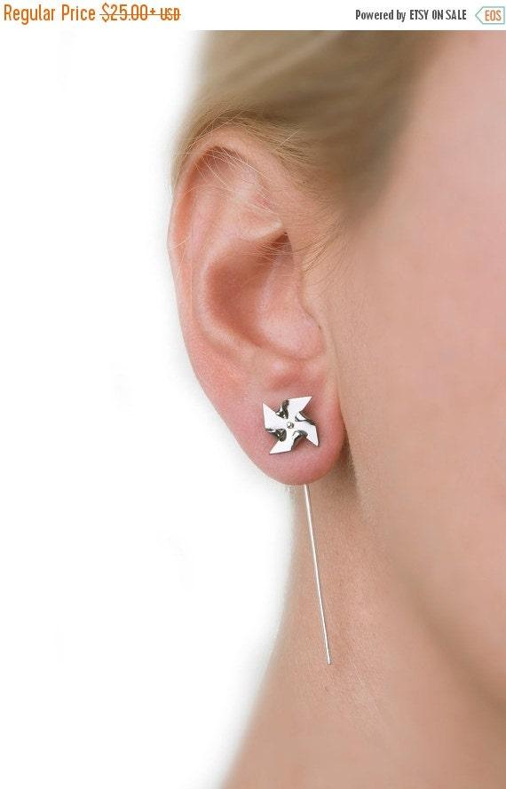 Pinwheel earrings, ear jacket, windmill, silver earring, minimal, titanium, earring stud, cute, small, earring pin, handmade, teen girl gif