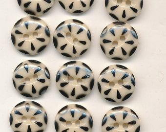 """Vintage Antique China Stencil Buttons - Lot of 12 Black and Cream 5/8"""""""