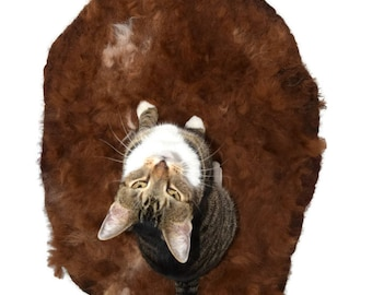 Cat Bed - Pet Mat - Alpaca Fleece Felted Rug - Dark Fawn - Supporting Small Farms of The United States - Ready to Ship