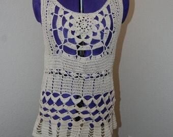 Crochet Womans Top in Ecru Cotton Size Large