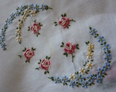 Lovely pink flowers  embroidery hankie hanky