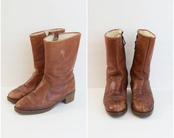 Vintage L.L. Bean brown leather boots with wool pile lining