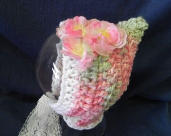 Lace and Flowers Pixie Bonnet INVENTORY REDUCTION SALE Ready to Ship!