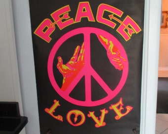 "SALE and Free Shipping  Original"" Peace and Love"" Black Light Poster"