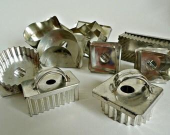 9 Vintage Cookie Cutters Metal Cookie Cutters Tin Handle