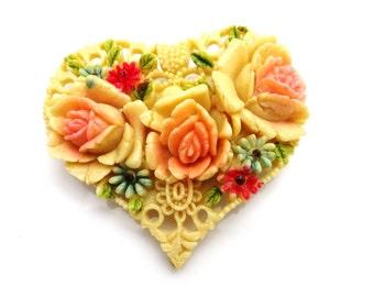 Occupied Japan Celluloid Brooch, Flower Brooch, Heart Brooch Pin, Flowers Hearts, 1940s Vintage Jewelry