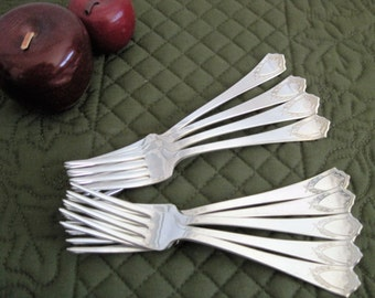 8 Antique Vintage Arion International Silverplate Jewell Pattern Dinner Forks Circa 1910's