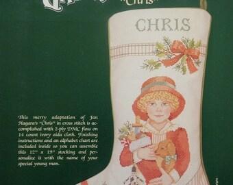 50%OFF Jan Hagara's Hangara Painting Adaptation CHRIS CHRISTMAS Stocking By Johnson Creative Crafts- Counted Cross Stitch Pattern Chart