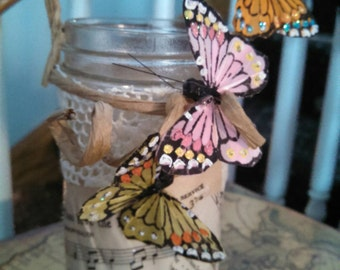Shabby candle holder jar with pretty butterflys