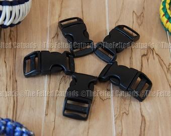 "Buckles for Paracord Bracelets 5 ITW Nexus Contoured 3/4"" Black SR - Flat Webbing"