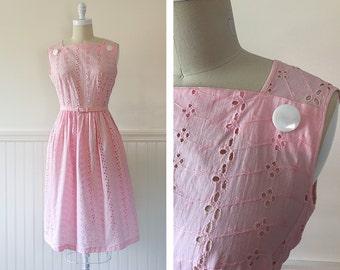 1950s Pink Day Dress --> 1950s Dress  --> 50s Dress --> 1950s Cotton Dress --> Eyelet Lace Dress --> 1950 Dress --> Pink Dress --> Cute