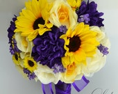 "17 Piece Package Wedding Bridal Bouquet Silk Flowers Bouquets Artificial Flower Bride Sunflower PURPLE YELLOW IVORY ""Lily of Angeles"" PUYE02"