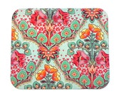 Mouse Pad - Fabric mousepad - Art Deco floral  - Home office / computer / Electronic