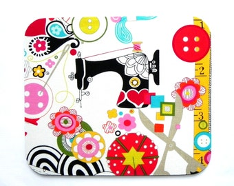 Mouse Pad - Alexander Henry Sew Now Sew Wow Fabric - Sewing machine