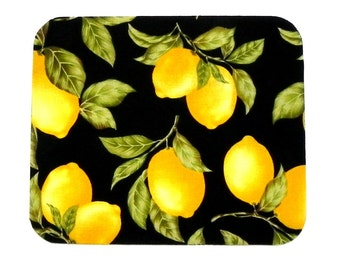 Mouse Pad - Fabric mousepad - Lemon tree - Yellow Black hot pad - Home office / computer / Electronic