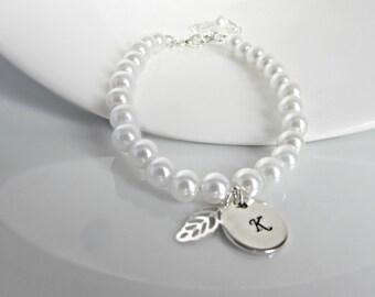 Pearl Initial Bracelet, Pearl Bracelet, Leaf Bracelet, Bridesmaid Gifts, British Seller UK, Gifts for Girls, Bridesmaid Bracelet, BFF Gifts
