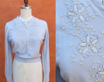 Vintage 1950s 1960s Pale Periwinkle Blue Beaded Button down Cardigan Sweater. Pearls. Size 36