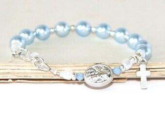 Child's Blue Swarovski Pearl Rosary Bracelet, St Michael & Guardian Angel