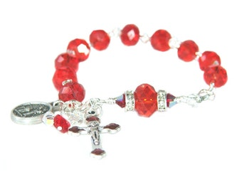 Confirmation Bracelet, St Michael & Guardian Angel Medal Rosary Bracelet - RCIA Gift