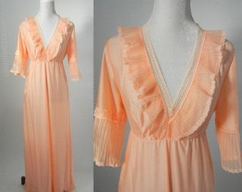 Vintage Nightgown, Orange Nightgown, 1960s Nightgown, Vintage Negligée, Vintage Lingerie, Retro 60s Nightie, Long Nightgown, 60s Pyjamas