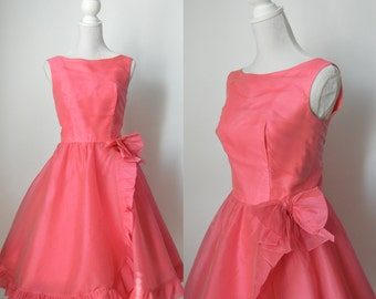 Vintage Dress, Pink Vintage Dress, 1950s Dress, 1950s Pink Dress, Pink Chiffon Dress, Retro 50s Dress, Pink Formal Dress, Pink Prom Dress
