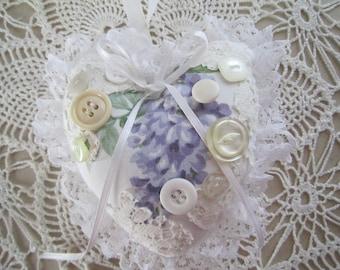 Lavender and White Shabby Heart