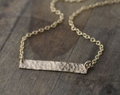 Lightweight Hammered Bar Necklace - Gift for Women - Stocking Stuffer - Gold Filled Bar Necklace