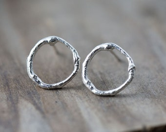 Silver Branch Stud Earrings, Summer Outdoors Twig Post Earrings, Gift for Her, Gift for Women, Sterling Silver Jewelry Handmade by Burnish