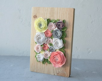 Pink Yellow White Rose Flower Decor Decoration Wooden Frame Base Basis Planted Flowers Home Decor Accessory Housewarming Birthday Gifts