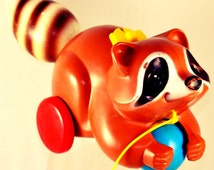 Vintage 1979 Fisher Price Roly Poly Raccoon Pull Toy