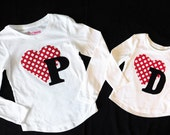 Girls or womens shirt with personalized birthday number or Valentine initial applique sizes girls NB - 16, xs, s, m, l, xl, xxl
