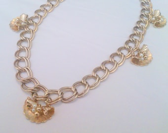 Vintage Gold Tone Chunky Chain Link Charm Necklace