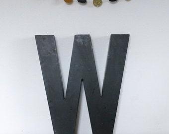 Vintage Shop letter W, vintage signage, Black