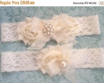 SUMMER SALE SALE Vintage Bridal Garter- Wedding Garter Set- Toss Garter included Lace Garter  Ivory with Rhinestones and Pearls  Custom Wedd