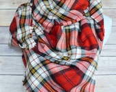 Red Plaid Blanket Scarf, Flannel Infinity Scarf, Large Oversized Wrap Shawl, Fringed Scarf, Tartan Scarf