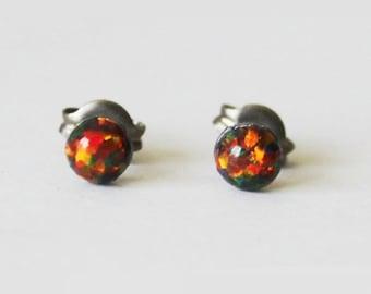 Tiny 4mm Black Fire Opal stud earrings, Titanium Earrings, hypoallergenic, Gemstone post studs, Sensitive ears, Black small opal earrings