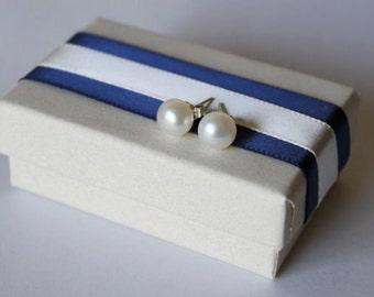6-7mm pearl stud earrings, Sterling Silver, natural pearl studs, Bridesmaid earrings, bridal,birthday,graduation,10 dollar,Navy