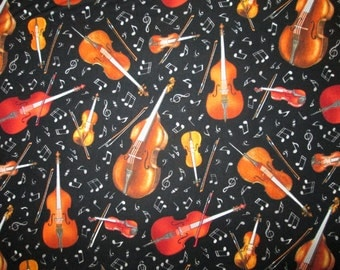 String Instruments Music Notes Cotton Fabric Fat Quarter or Custom Listing
