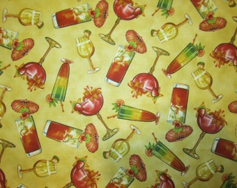 Martini Long Island Wine Cocktail Glass Yellow Cotton Fabric Fat Quarter or Custom Listing