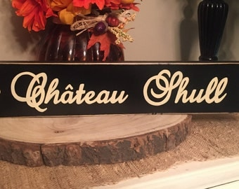 Chateau Family French Sign Plaque Custom with Fleur de Lis PERSONALIZED Name for Home House Housewarming Marriage