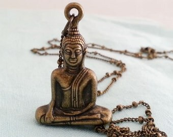 Buddha Necklace.  Brass Buddha. Buddha Pendant. Long Boho Necklace.Om. Ohm.Zen. Boho Yoga Jewelry.
