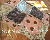 Connect The Dots Baby Rag Quilt, Baby Quilt, Baby Girl Quilt, Baby Rag Quilt, Pink Dots,Brown Dots, Polka Dots, Stitched In Prayer