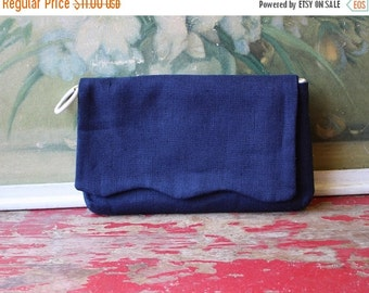 ON SALE %30 OFF Free Shipping Vintage Wallet Or Clutch, Navy Blue Wallet, Vintage Purse Organizer